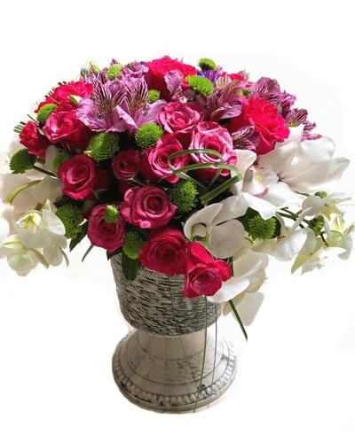 otantik saksıda butik çiçek arajmanı